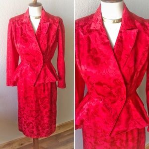 True Vintage🔥80s Red Rose Silk Power Suit